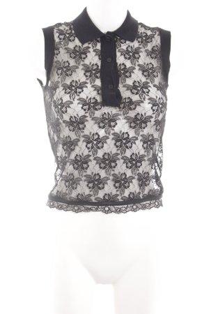 Dolce & Gabbana Netzshirt schwarz Blumenmuster Elegant