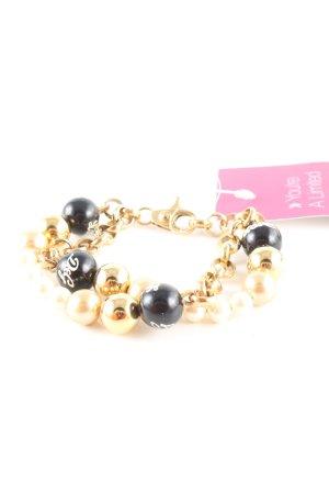 Dolce & Gabbana Bracelet en perles doré-noir élégant