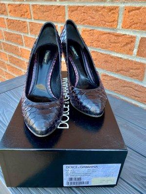 Dolce & Gabbana Escarpin à plateforme noir-violet foncé cuir