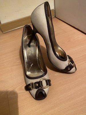 Dolce & Gabbana Tacones con punta abierta marrón oscuro-beige