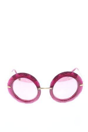 Dolce & Gabbana runde Sonnenbrille pink-goldfarben extravaganter Stil