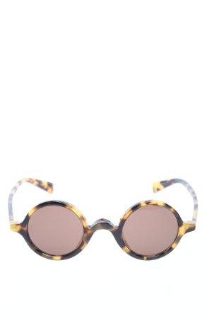 Dolce & Gabbana Occhiale da sole rotondo marrone-giallo pallido stampa integrale