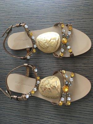 Dolce & Gabbana Sandales Dianette bronze cuir