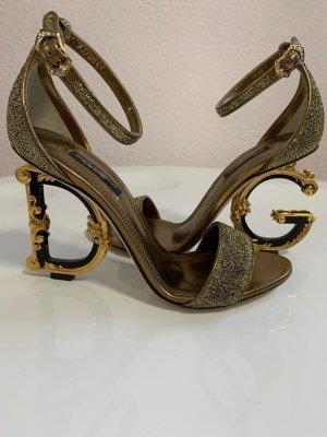 Dolce & Gabbana Sandaletten mit Skulptur-Absatz, Neu mit Etikett, Größe 37