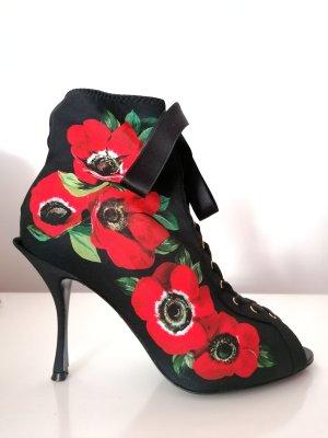 Dolce & Gabbana Bottes à bout ouvert noir-rouge brique polyester