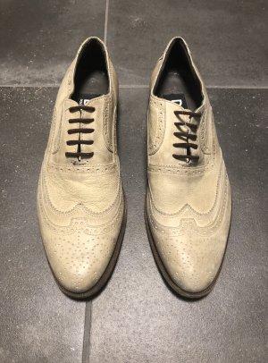 Dolce & Gabbana Schuhe D&G beige Brogue Oxford Schuhe Lederschuhe Schnürschuhe Derbies Halbschuhe Büroschuhe Budapester