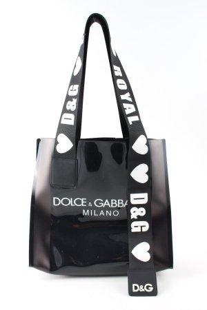 Dolce & Gabbana Schultertasche schwarz-weiß Motivdruck Casual-Look