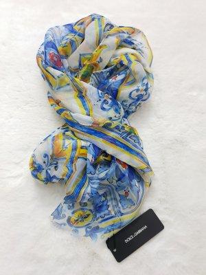 Dolce & Gabbana Sciarpa di seta giallo-blu neon