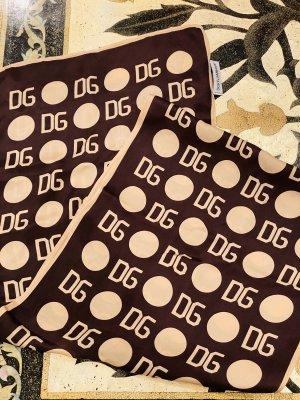 Dolce & Gabbana Sciarpa di seta beige-marrone scuro