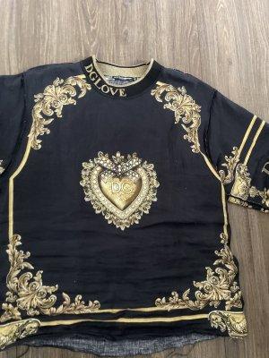 Dolce & Gabbana Camisa batik negro-color oro Lino