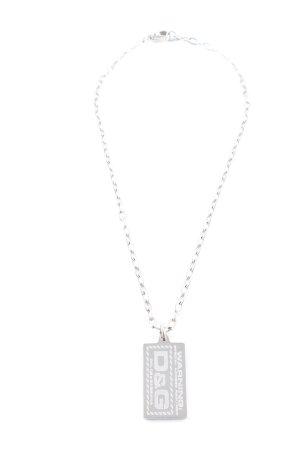Dolce & Gabbana Silberkette silberfarben Schriftzug gedruckt Casual-Look