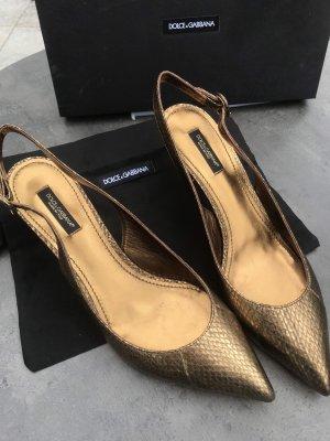 Dolce & Gabbana Tacones Mary Jane color bronce Cuero