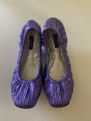 Dolce & Gabbana Bailarinas plegables violeta azulado Cuero