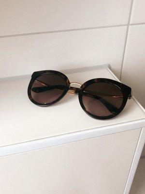 Dolce & Gabbana Occhiale da sole rotondo oro-marrone scuro Metallo