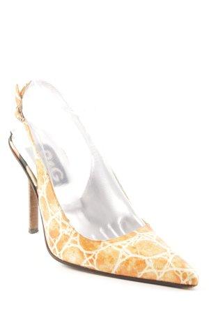Dolce & Gabbana Spitz-Pumps weiß-hellorange Animalmuster Casual-Look
