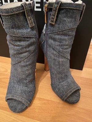 Dolce & Gabbana Peep Toe Booties slate-gray