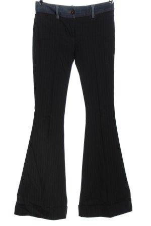 Dolce & Gabbana Pantalón de campana negro-azul estampado a rayas look casual