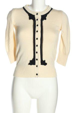 Dolce & Gabbana Strick Twin Set blassgelb-schwarz Casual-Look