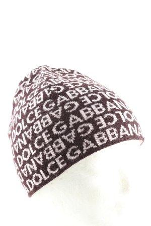 Dolce & Gabbana Cappello a maglia marrone-bianco sporco caratteri stampati