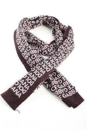 Dolce & Gabbana Sciarpa lavorata a maglia marrone-bianco caratteri stampati