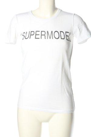 Dolce & Gabbana T-Shirt weiß-schwarz Schriftzug gedruckt Casual-Look