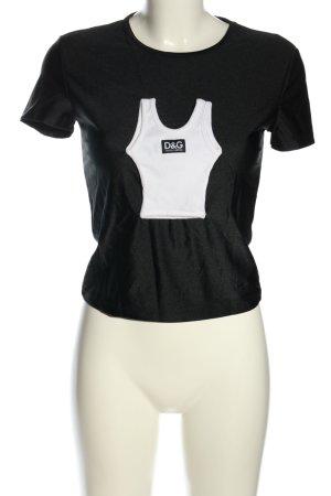 Dolce & Gabbana T-Shirt schwarz-weiß Motivdruck Casual-Look