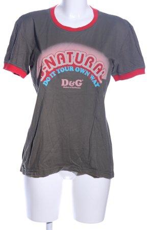 Dolce & Gabbana T-Shirt hellgrau-rot Schriftzug gedruckt Casual-Look