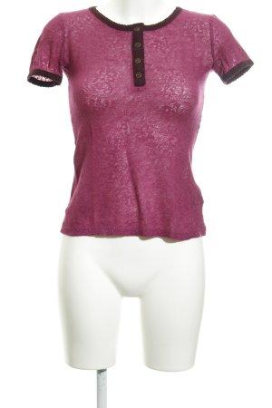 Dolce & Gabbana T-Shirt violett Blumenmuster Transparenz-Optik