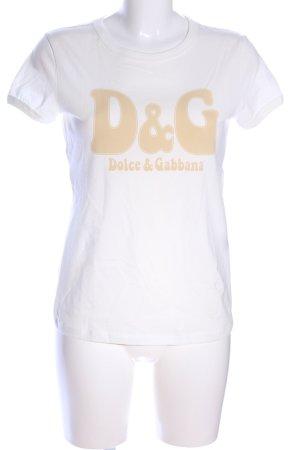 Dolce & Gabbana T-Shirt weiß-creme Schriftzug gedruckt Casual-Look