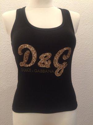 Dolce & Gabbana Camiseta sin mangas negro-color oro