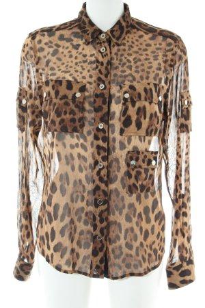 Dolce & Gabbana Transparenz-Bluse braun-schwarz Allover-Druck Elegant