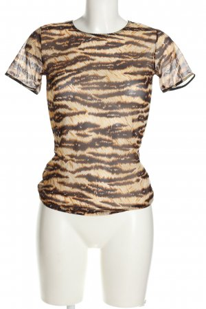 Dolce & Gabbana Transparenz-Bluse braun-wollweiß Animalmuster Casual-Look