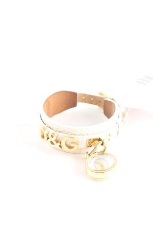 Dolce & Gabbana Montre avec bracelet en cuir blanc cassé-doré