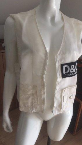 Dolce & Gabbana Pikowana kamizelka w kolorze białej wełny-czarny
