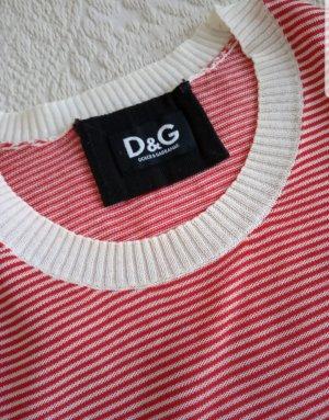 Dolce & Gabbana Camisa tejida blanco puro-rojo ladrillo