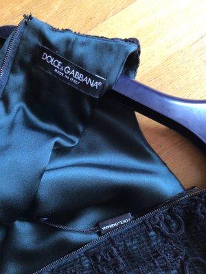 Dolce & Gabbana Vestido de noche negro-petróleo Seda