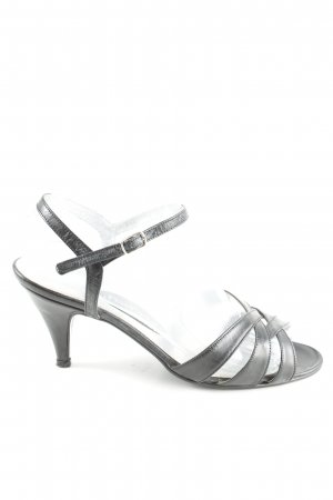 Sandalias de tacón de tiras negro elegante