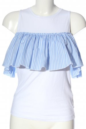 Dondup Sleeveless Blouse white-blue striped pattern casual look