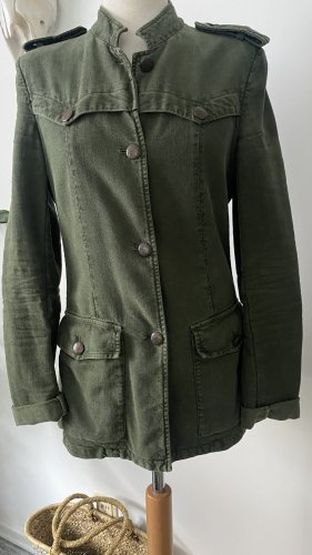 Dondup Military Jacket olive green-khaki cotton