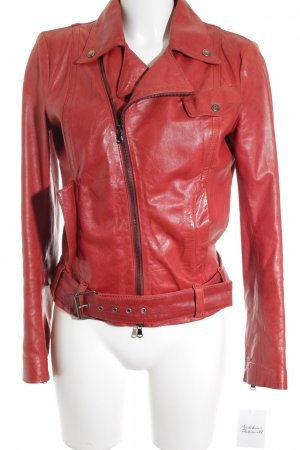 Dondup Giacca in pelle rosso scuro Stile ciclista
