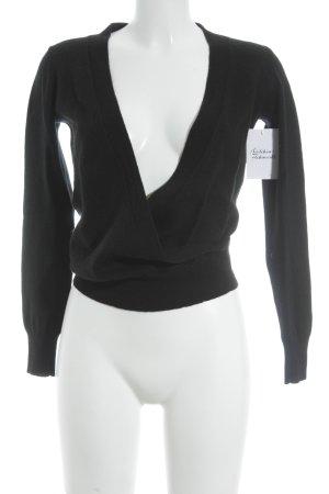 Donna by Hallhuber V-Ausschnitt-Pullover schwarz klassischer Stil