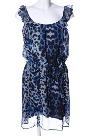 Donna Karan Chiffonkleid blau-schwarz Animalmuster Elegant