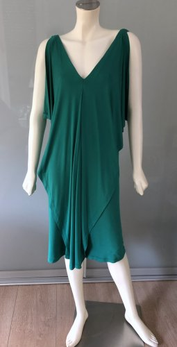 Donna Karan Cocktail Kleid M 38 Jersey Grün Stretch Viskose Volants Dress Green