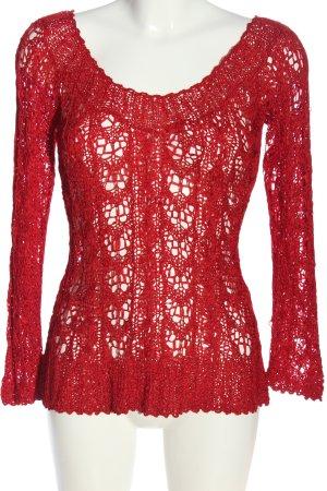 Donna Karan Top en maille crochet rouge style décontracté