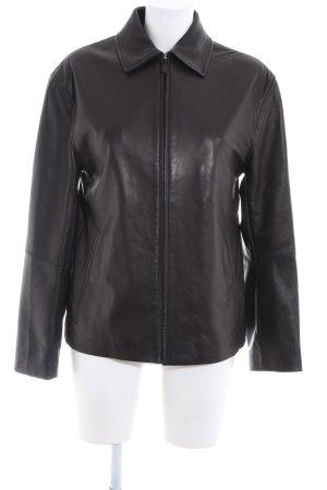 Donna Karan Veste en cuir noir style décontracté