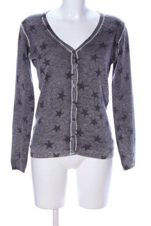 Donna Lane Shirt Jacket light grey-black allover print casual look