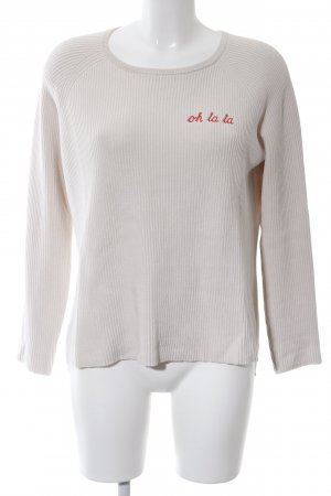 Donna Lane Knitted Sweater light grey-red embroidered lettering casual look