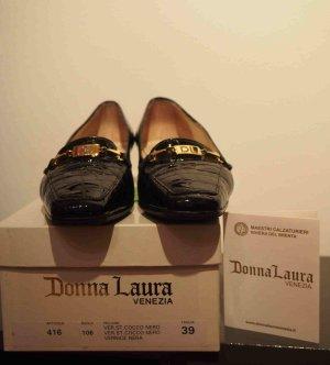 Donna Laura Ballerina di pelle verniciata nero Pelle