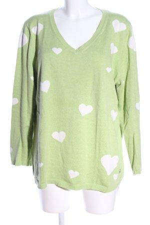Donnell Jersey con cuello de pico verde-blanco look casual