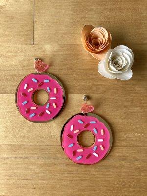 Donut-Ohrstecker in Pink und Gold